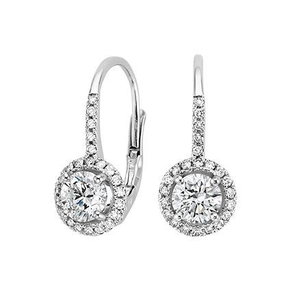 Luxe Halo Enchant Drop Earrings 1 1 4 Ct Tw In 18k White Gold Jewelry Solitaire Earrings Diamond Drop Earrings