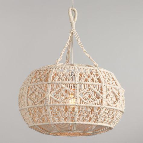 Ivory Macrame Sphere Pendant Lamp by World Market Antique Whitewash Wood Bead Chandelier Macrame Design, Macrame Art, Macrame Projects, Wood Bead Chandelier, Hanging Pendants, Pendant Lighting, Hanging Lamps, Pendant Lamps, Chandeliers