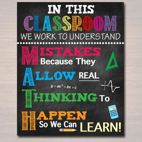 MATH Teacher Classroom Poster, Printable Mistakes Math Classroom, Math Class Poster Decor, High School, Classroom Rules, Math Teacher Gift