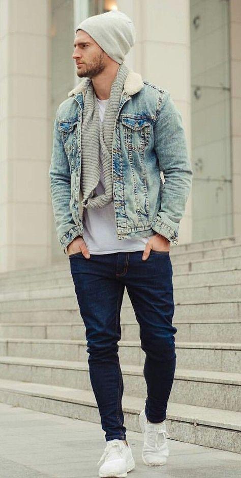 Men Clothing Fall combo inspiration with a gray beanie gray scarf light denim jacket white t-shirt denim denim white sneakers.