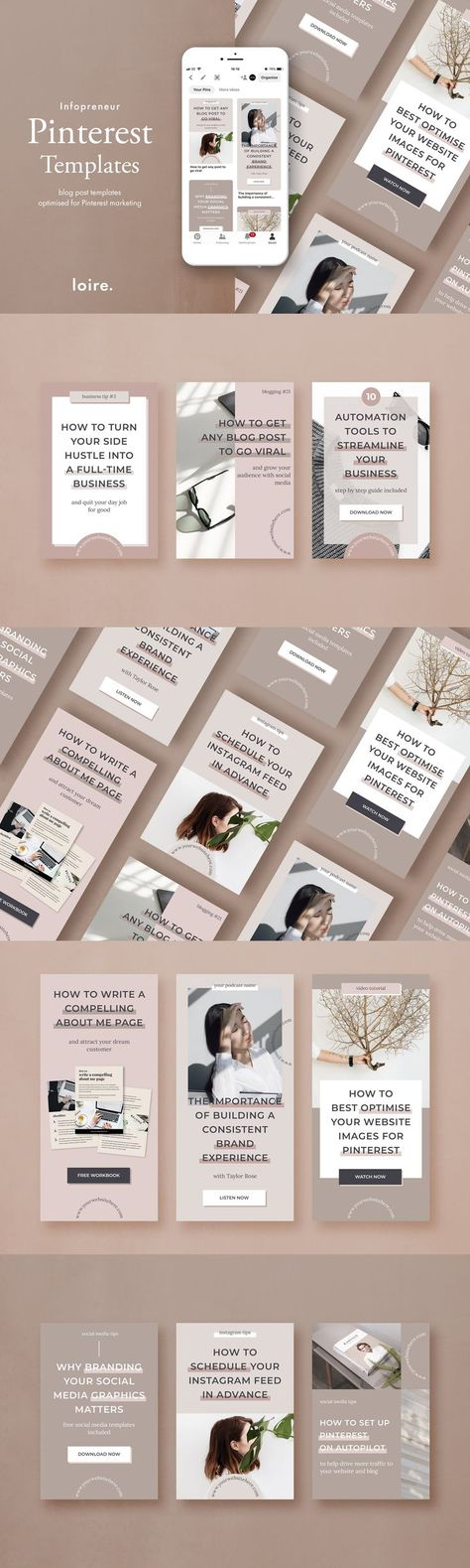 Pinterest branded pin templates by Studio Loire on @creativemarket