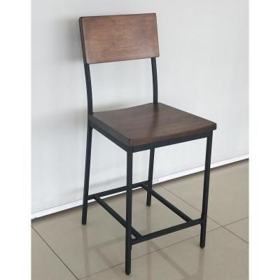 Stylewell Porter Black Metal Counter Stool With Back And Haze Oak
