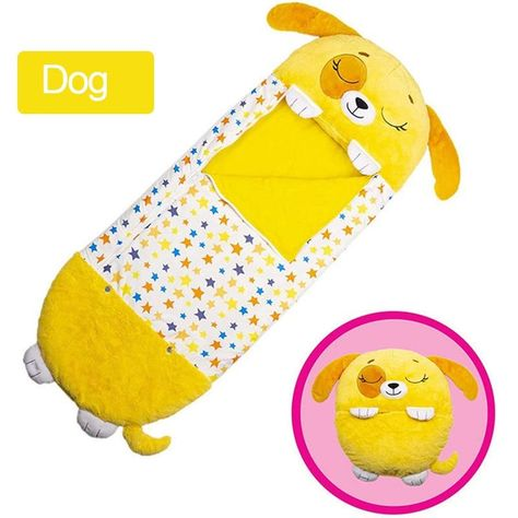 Siamese Cute Baby Sleeping Bag Cartoon Children Lazy One-piece Pajamas Sleeping Bag Play warm Pillow Soft Plush Animal Sleep - Yellow / 130X50cm