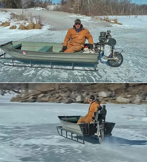 Why Wait For Summer To Take The Boat Back Out? Man Creates Bizarrely Cool Ice Sled Machine Out of Boat and Saw Blade Ice Fishing Sled, Fishing Shack, Sea Fishing, Kayak Fishing, Fishing Boats, Women Fishing, Walleye Fishing, Saltwater Fishing, Fishing Reels