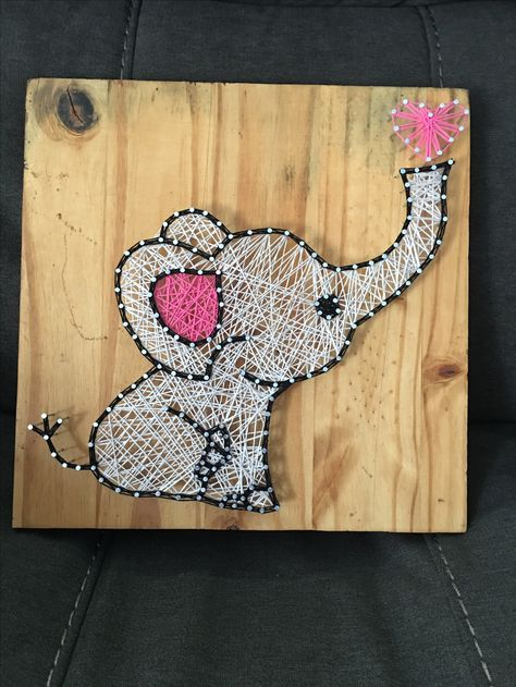Baby elephant string art. Made to order visit beccas_art_of_string on Instagram to see more. To order email rapodaca_12@yahoo.com. Everything is made to order and custom made, choose your color string and wood stain. Prices will be discussed via email. Thanks for looking