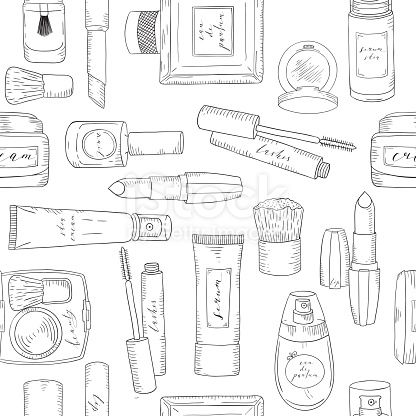 Hand Drawn Cosmetics Pattern Beauty And Makeup Sketch Como
