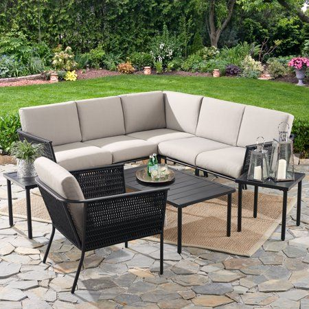 Mainstays Dagna 9 Piece Patio Sectional And Table Set With Gray