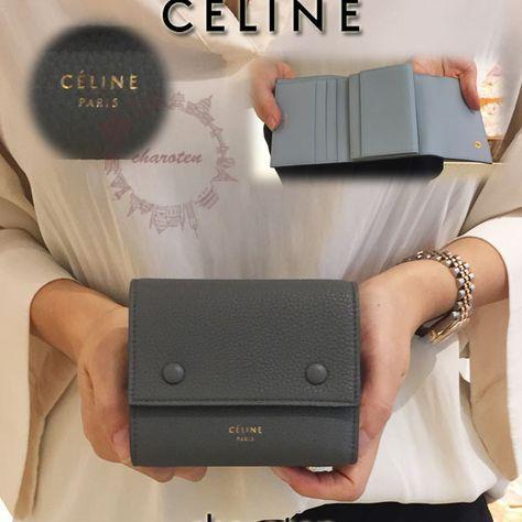 Celine スーパーコピー 折りたたみ財布 裏地blueで大人配色 三つ折り財布 8032012 グレー バッグ 三つ折り財布 可愛い財布
