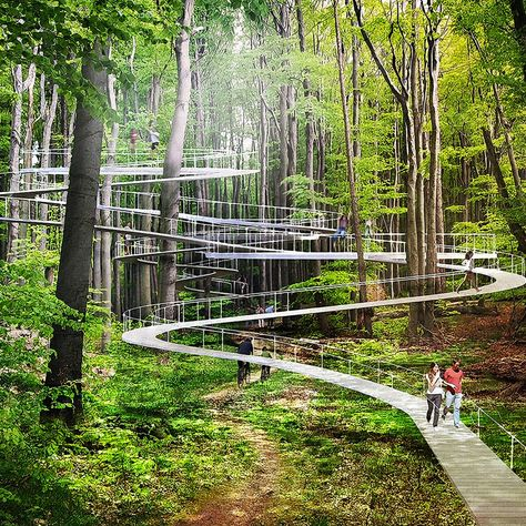 Imagine if your next trip to the forest allowed you to meander hidden pathways into the treetops, swing on hammocks, and bounce on giant… Park City, Urban Landscape, Landscape Design, Landscape Architecture, Architecture Design, Natural Architecture, System Architecture, Contemporary Architecture, Parks
