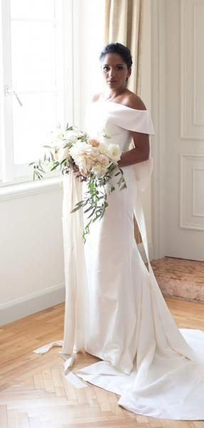 Off Shoulder Elegant Simple Satin Mermaid With Bowknot Wedding