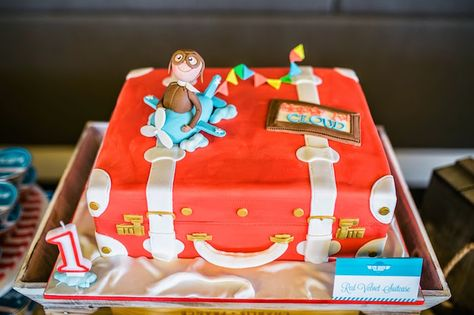 Cake from an Airplane in the Clouds Aviator Birthday Party via Kara's Party Ideas KarasPartyIdeas.com (14)