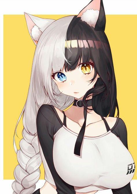 Anime art kawaii cute cat neko girl on We Heart It