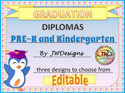 These adorable diplomas will be perfect for your end of year graduation party. They are specifically designed for Pre-K and Kindergarten. They have four editable fields: student's name, school, teacher's name and date. The font type, size and color can be customized to your preferences. Great for homeschools too.