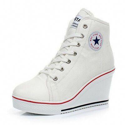 Women Canvas Shoes High Top Wedge Heel