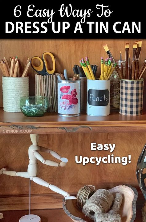 Looking for easy upcycling ideas for the home? Here are some cheap, easy and creative ways to recycle tin cans! These tin can crafts are perfect for organizing your office or craft room supplies, used as small vases, or displaying fall and Christmas decor. Make them rustic or make them cheery! If you are looking for creative projects to try, these repurposed tin can ideas are budget friendly and super charming. Recycled crafts that are useful! Perfect to sell or give away as gifts. #instrupix