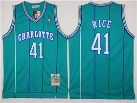 save off 2d760 9c8bb Charlotte Hornets #41 Glen Rice Teal Hardwood Classic Jersey ...