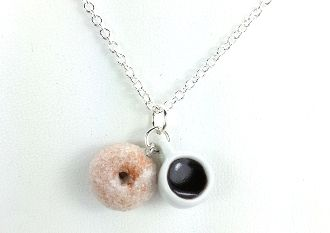 Coffee and Donut Necklace