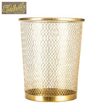 Gold Metal Trash Can Clips Gold Hobby Lobby Paper White And Gold Office Decor Work Spaces In 2020 Metal Trash Cans White Gold Office Gold Office Decor