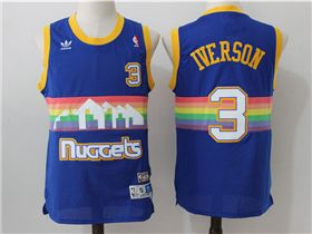 timeless design 72af0 f4ff8 Denver Nuggets #3 Allen Iverson Blue Hardwood Classic Jersey ...