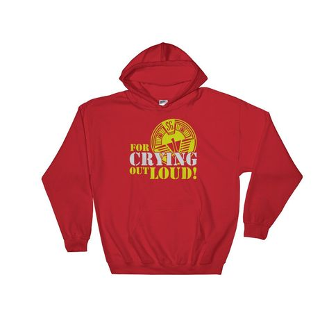 From the cult sci-fi TV series Stargate SG1 comes this famous Jack O'Neill For Crying Out Loud Quote Hoodie. Everyone needs a go-to, cozy sweatshirt to curl up in, so go for one that's soft, smooth, and stylish. It's also perfect for cooler evenings! * 50% cotton/50% polyester * Reduced pilling and softer air-jet spun yarn * Double-lined hood * 1x1 athletic rib knit cuffs and waistband with spandex * Double-needle stitching throughout * Front pouch pocket Designed in the UK and Direct to Garment