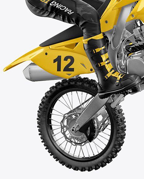 Download Motocross Racing Kit Mockup In Apparel Mockups On Yellow Images Object Mockups Motocross Racing Motocross Bike Boots