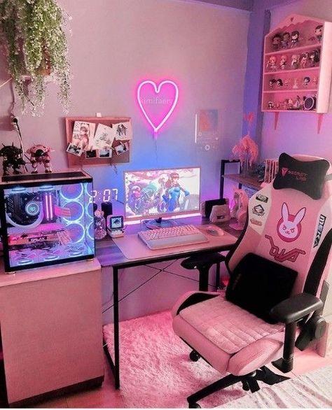 Gamer Setup, Gaming Room Setup, Pc Setup, Cool Gaming Setups, Cute Room Ideas, Cute Room Decor, Kawaii Room, Game Room Design, Indie Room