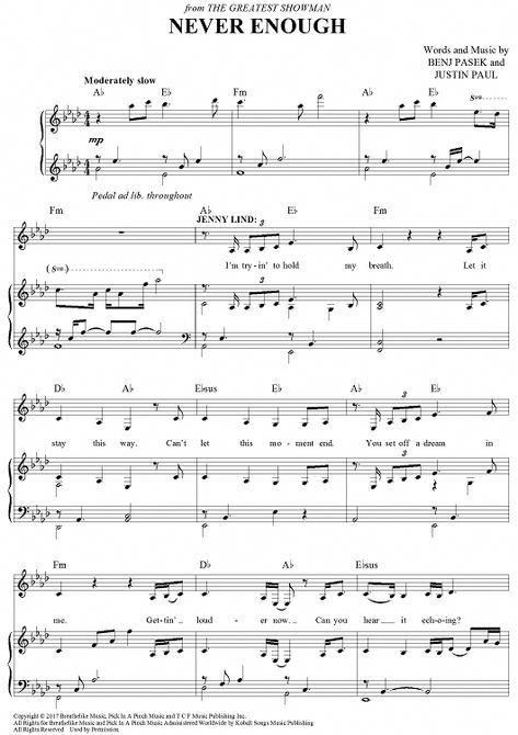 The Greatest Showman Never Enough Sheet Music Notes