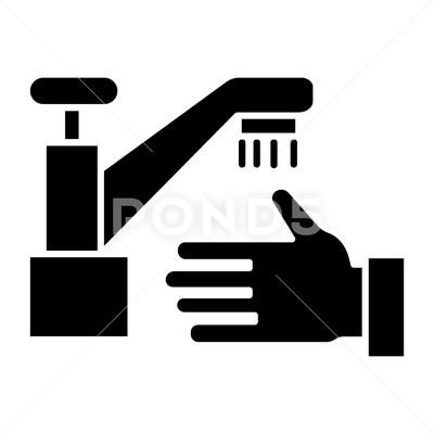 Washing Hands Wash Crane Icon Vector Illustration Black Sign