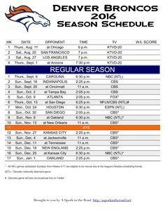 Denver Broncos 2016 Season Schedule