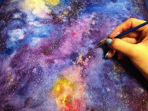 My largest galaxy yet ✨ . . #watercolor #painting