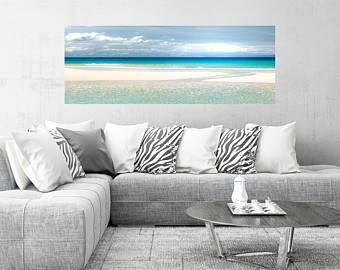 Large Coastal Artwork Beach Canvas Large Teal Large Beach Panorama Extra Large Wall Art Seascape Canvas Lan Coastal Artwork Seascape Canvas Coastal Decor