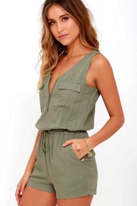 Women/'s Playsuit  Skort Shorts Sleeveless Jumpsuit Green