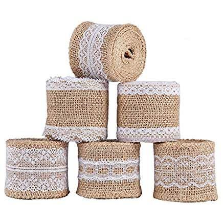 Ss Shovan 6pcs Natural Burlap Craft Ribbon Roll With White Lace 5cm X 2m For Diy Handmade Wedding Crafts Decorations Lace Fairy Wedding Decorations Weddi