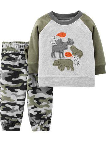 Carters Infant Boys 2 Piece Outfit Camouflage Fleece Moose Jacket Blue Jeans