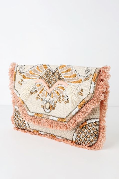 Diy Clutch, Beaded Clutch, Clutch Purse, Look Fashion, Fashion Bags, Best Leather Wallet, Clutches For Women, Cute Handbags, Purse Styles