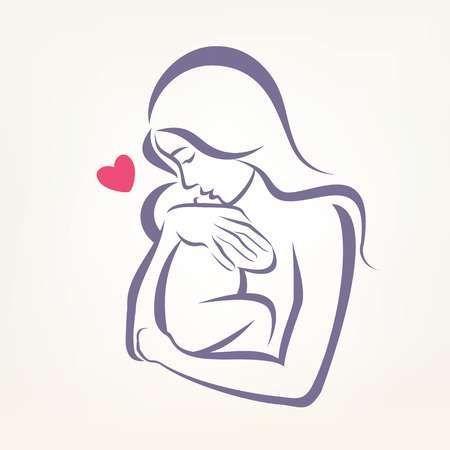 Mama Y El Bebe Simbolo Estilizado Dibujo Esbozado Tatuaje De Bebe Angel Dibujo De Bebe Dibujo Para Mama