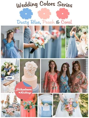 Items similar to Dusty Blue, Peach and Coral Wedding Color Bridesmaids Robes - Premium Soft Rayon - Wider Belt and Lapels - Wider Kimono sleeves on Etsy