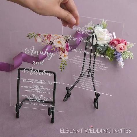 #EWI chic clear acrylic floral wedding invitation