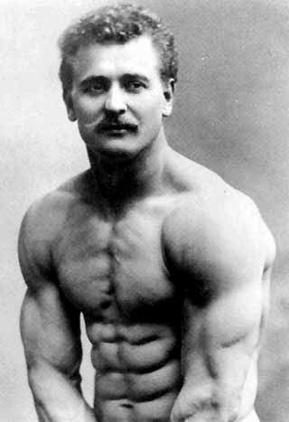"""""""Father of Modern Bodybuilding"""" Eugen Sandow. This picture was taken in the 1800s (well before barbells and fitness gyms were common place)"""