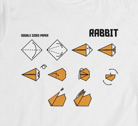 Origami Rabbit Instructional Fitted Shirt Origami Design | Etsy