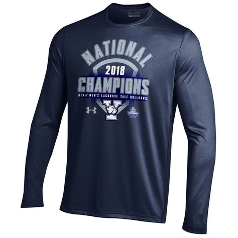 212965809 Yale Bulldogs Under Armour 2018 NCAA Men's Lacrosse National Champions Long  Sleeve T-Shirt – Navy