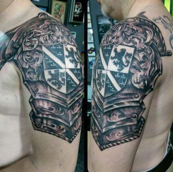 Tattoos Of Family Crest For Men Armor Arm Tattoosformen Shoulder Armor Tattoo Armor Tattoo Armour Tattoo