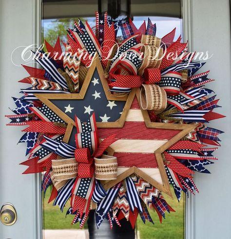 Patriotic Rustic Stars Wreath by CharmingDoorDesigns on Etsy Patriotic Wreath, Patriotic Crafts, July Crafts, Fourth Of July Decor, 4th Of July Decorations, July 4th, 4th Of July Wreaths, Wreath Crafts, Diy Wreath