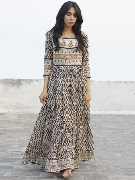Beige Black Maroon Hand Block Printed Dress With Gathers - DS36F002