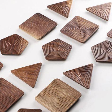 Geometry Walnut Wood Coasters - Triangle