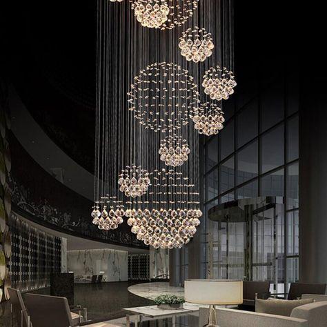 Shop Modern LED Spiral Crystal Chandelier Lighting for Foyer