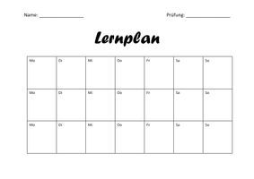 Lernplan Zur Prufungsvorbereitung Unterrichtsmaterial Im Fach Fachubergreifendes Lernplan Lernen Tipps Schule Hausaufgaben Planer