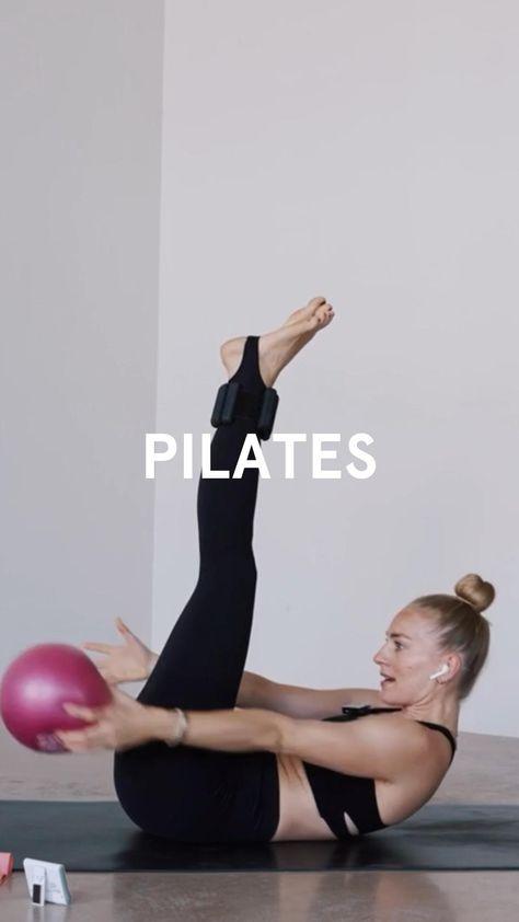 Pilates Bauch-Workout mit Ball und kleinen Hanteln 💪�