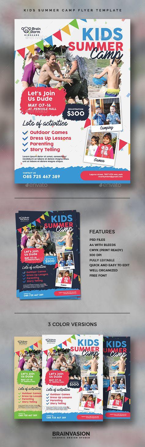 Kids Summer Camp  Flyer Template Design Sample  Print Design