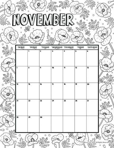 Images of Printable November 2021 Calendar Page